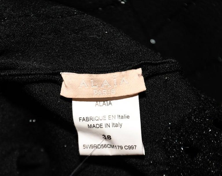 Alaia Black Wool Blend Punch Hole Decorated Sleeveless Dress 1
