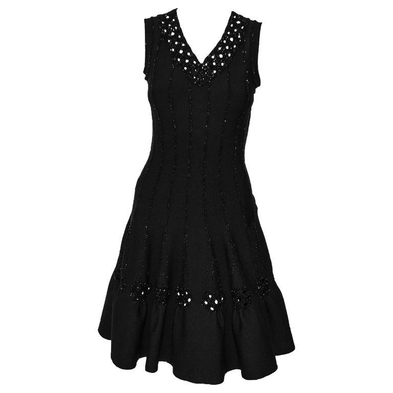 Alaia Black Wool Blend Punch Hole Decorated Sleeveless Dress