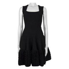 ALAIA black wool blend RUFFLED HEM KNIT Flared Dress 36