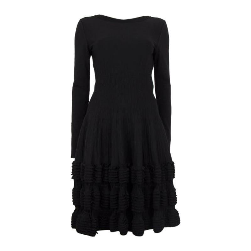 ALAIA black wool blend RUFFLED HEM KNIT Long Sleeve Dress 38