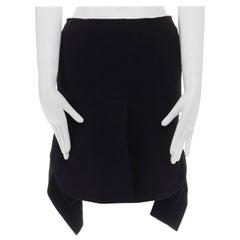 "ALAIA black wool crepe slit front draped curved cut paneled hem mini skirt 27"""