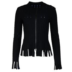 Alaia Black Zip Up Jacket W/ Blue Sparkle Under Sz 42