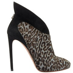 ALAIA blue black leopard print calf hair suede angular wing back bootie EU39.5