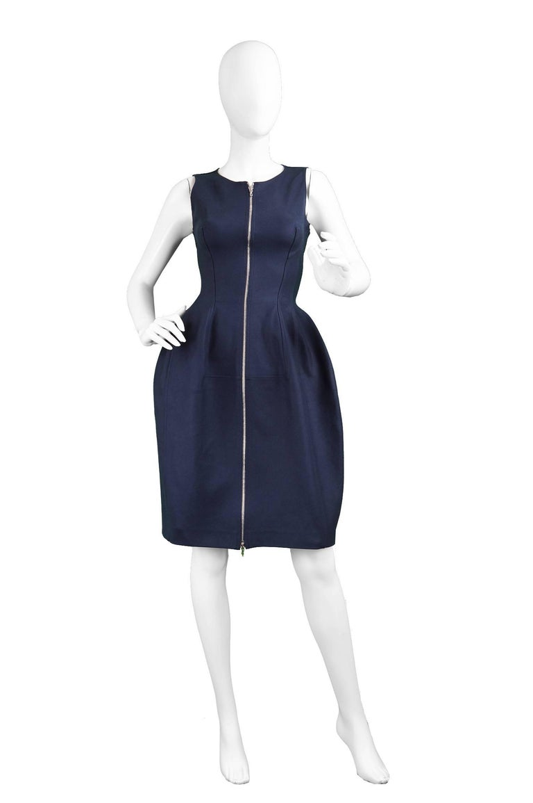 "Alaia Navy Blue Sculptural Godet Stretch Cotton Front Zip Dress  Size: marked 38 but fits more like an XS. Please check measurements.  Bust - stretches from 31""-32"