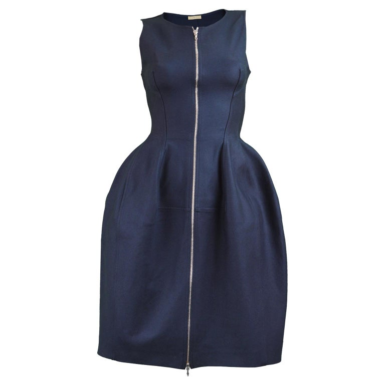 Alaia Blue Sculptural Cotton Dress