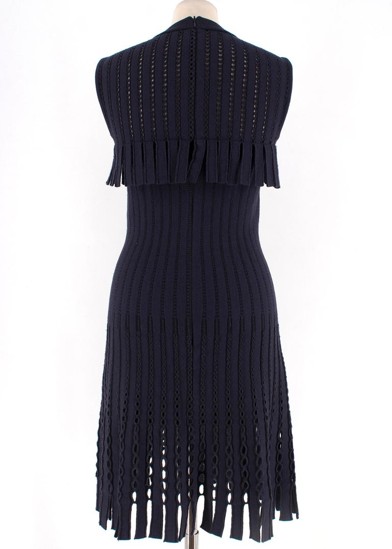 Alaia Blue Sleeveless Wool Knit Dress XS  In Excellent Condition For Sale In London, GB