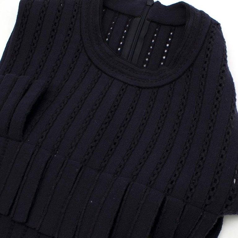 Alaia Blue Sleeveless Wool Knit Dress XS  For Sale 2