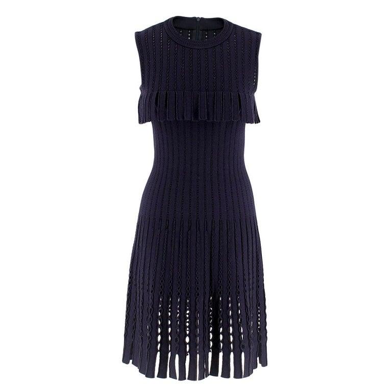 Alaia Blue Sleeveless Wool Knit Dress XS  For Sale