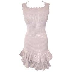 Alaia Body Conscious Blush and Mauve Double Tier Sleeveless Dress 40 EU