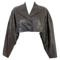 Alaia Bolero Leather Lambskin Short Black Vintage Jacket 1980s