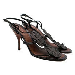 Alaia Brown Crocodile Strappy Leather Sandals - Size 39