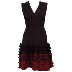 Alaia Brown Ribbed Knit Silk Runway Dress Ombre Effect and Ruffled Rows 40 EU