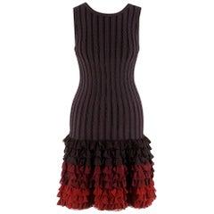 Alaia Brown Stretch Knit Mini Ruffled Mini Dress - Size US 4