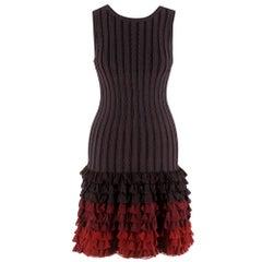 Alaia Brown Stretch Knit Mini Ruffled Mini Dress XS 36