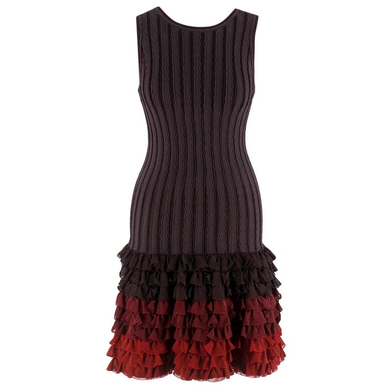 Alaia Brown Stretch Knit Mini Ruffled Mini Dress XS 36 For Sale
