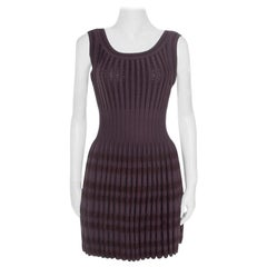 Alaia Brown Stretch Knit Paneled Fit and Flare Dress M