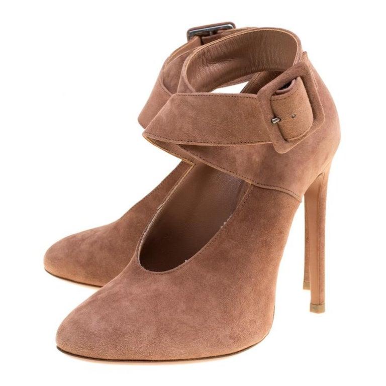 Women's Alaia Brown Suede Cross Ankle Strap Platform Pumps Size 37.5 For Sale