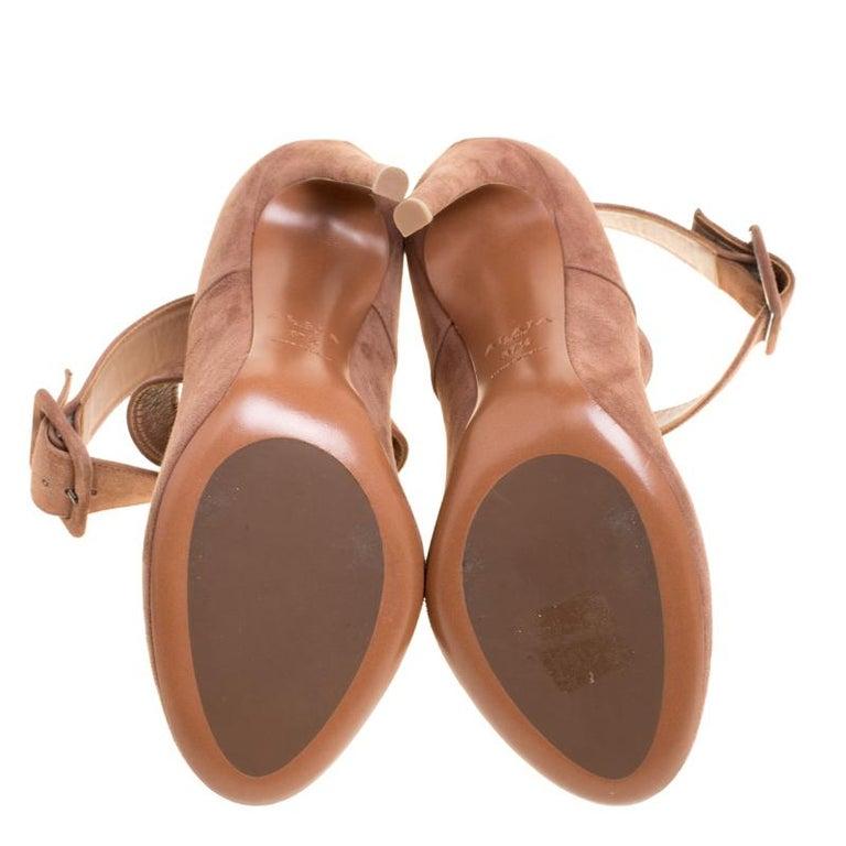 Alaia Brown Suede Cross Ankle Strap Platform Pumps Size 37.5 For Sale 2