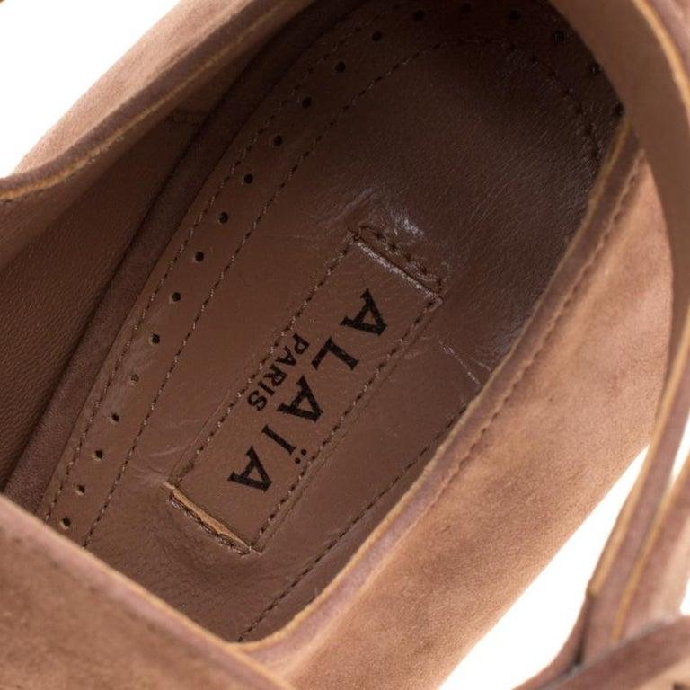 Alaia Brown Suede Cross Ankle Strap Platform Pumps Size 37.5 For Sale 3