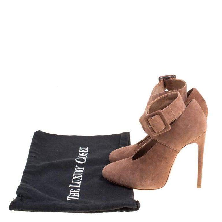 Alaia Brown Suede Cross Ankle Strap Platform Pumps Size 37.5 For Sale 4