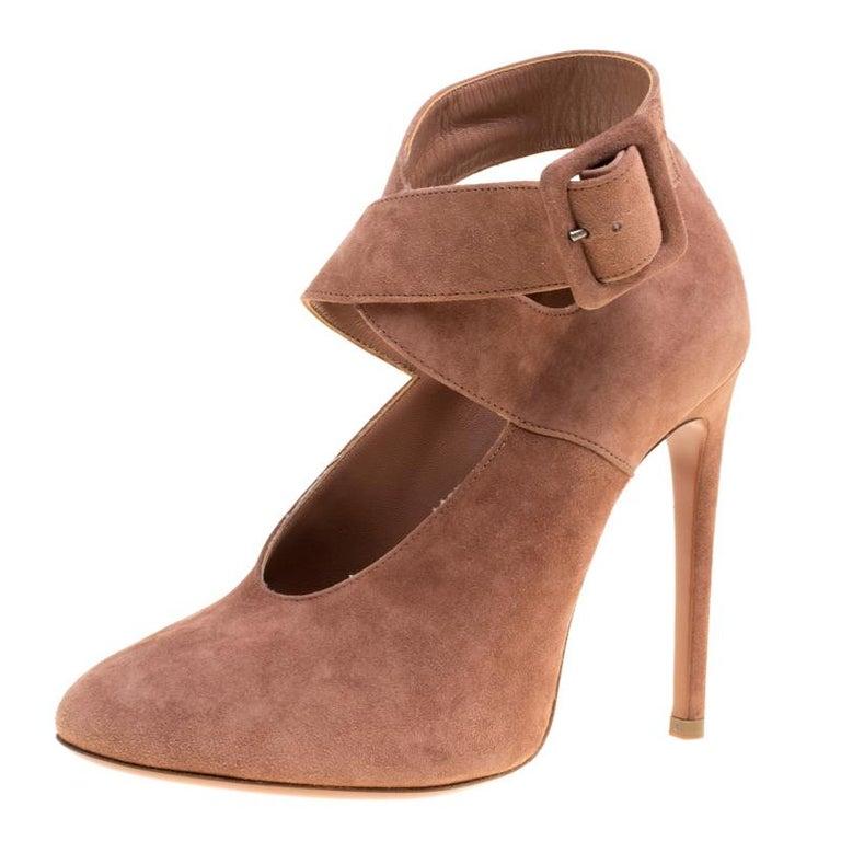 Alaia Brown Suede Cross Ankle Strap Platform Pumps Size 37.5 For Sale