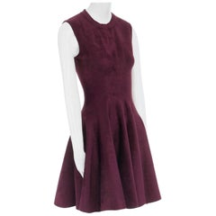 ALAIA burgundy chenille fit & flared skirt cocktail dress IT40 US8 M