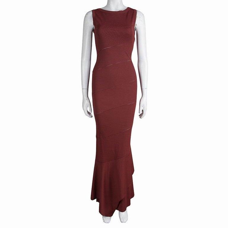 Brown Alaia Burgundy Knit Sleeveless Paneled Maxi Dress S For Sale
