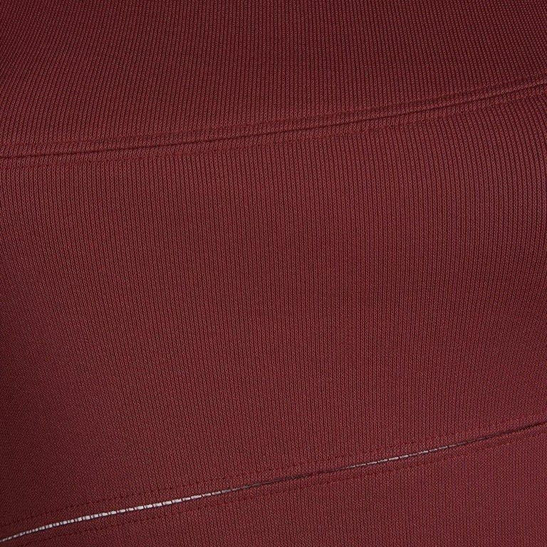 Alaia Burgundy Knit Sleeveless Paneled Maxi Dress S In Excellent Condition For Sale In Dubai, AE