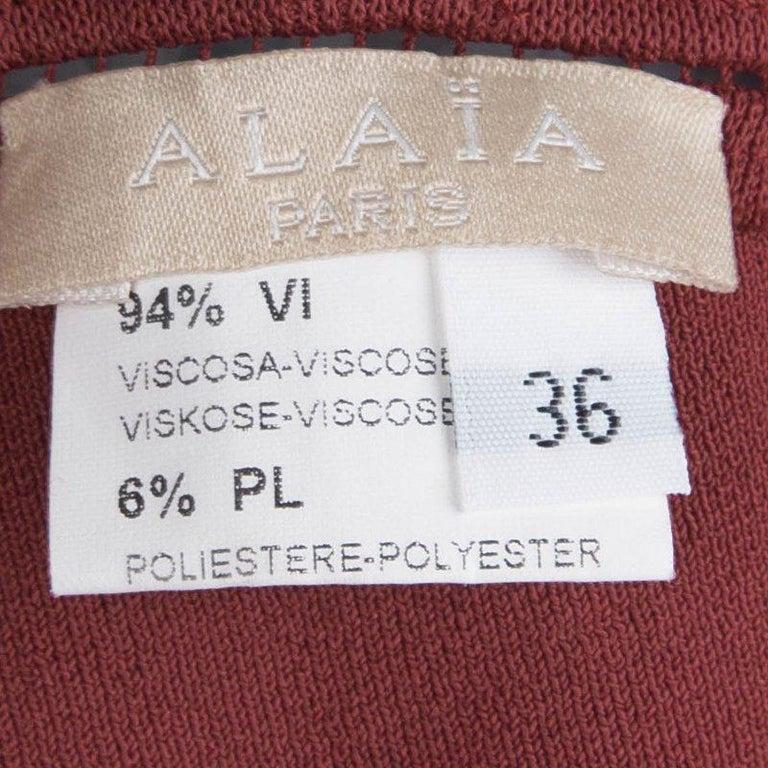 Women's Alaia Burgundy Knit Sleeveless Paneled Maxi Dress S For Sale