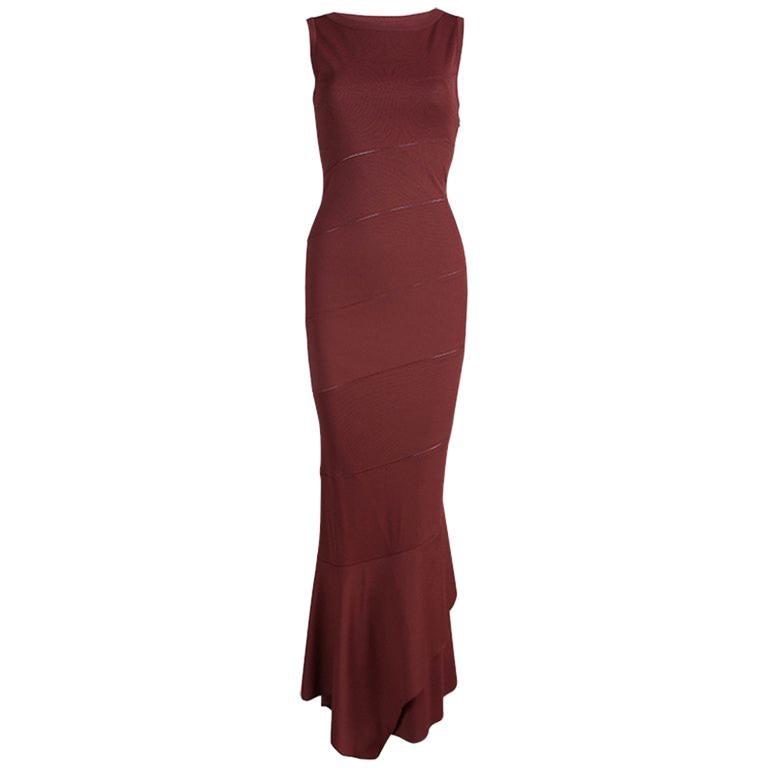 Alaia Burgundy Knit Sleeveless Paneled Maxi Dress S For Sale