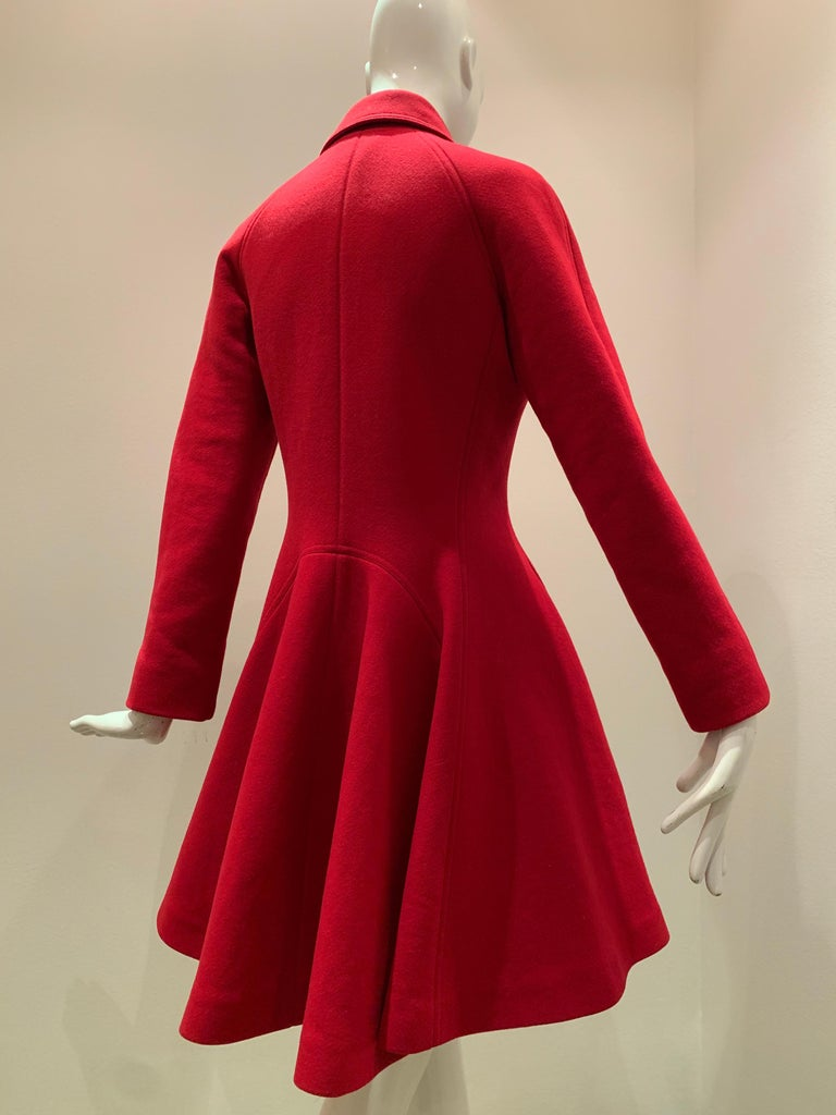 Alaia Cardinal Red  Boiled Wool Fit & Flare Princess Coat W/ Full Skirt & Collar For Sale 6