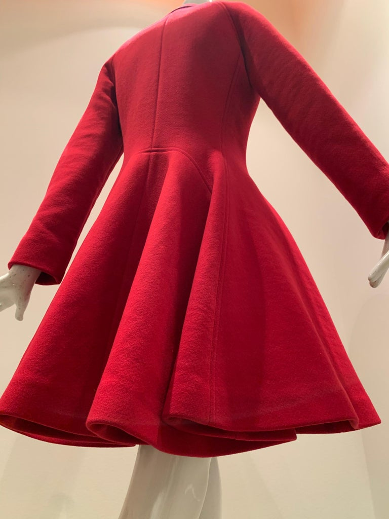 Alaia Cardinal Red  Boiled Wool Fit & Flare Princess Coat W/ Full Skirt & Collar For Sale 7