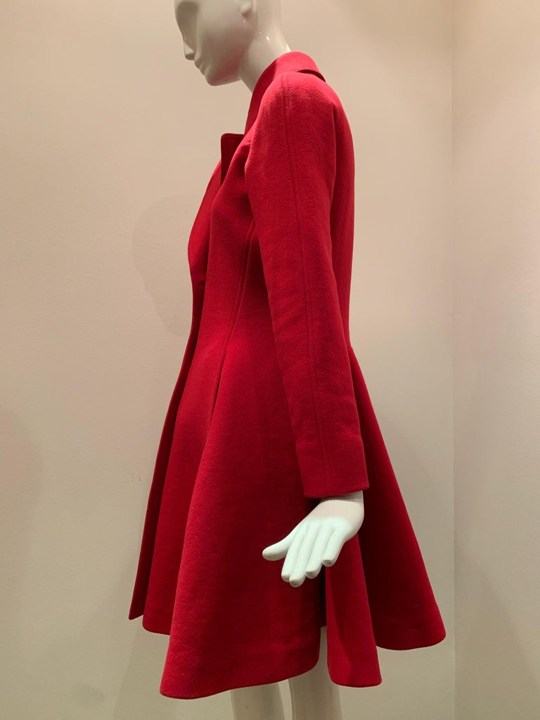 Alaia Cardinal Red  Boiled Wool Fit & Flare Princess Coat W/ Full Skirt & Collar For Sale 8