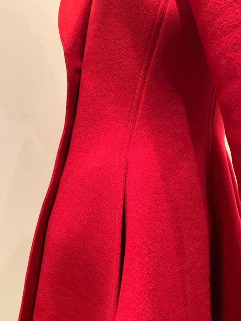 Alaia Cardinal Red  Boiled Wool Fit & Flare Princess Coat W/ Full Skirt & Collar For Sale 9
