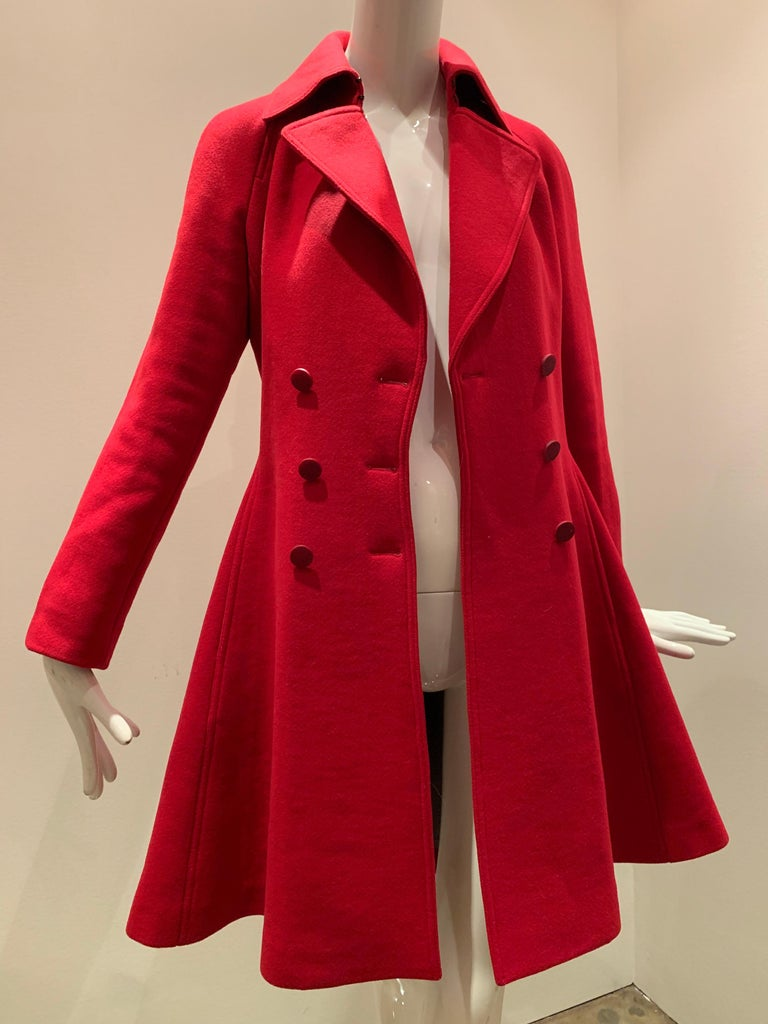 Alaia Cardinal Red  Boiled Wool Fit & Flare Princess Coat W/ Full Skirt & Collar For Sale 12