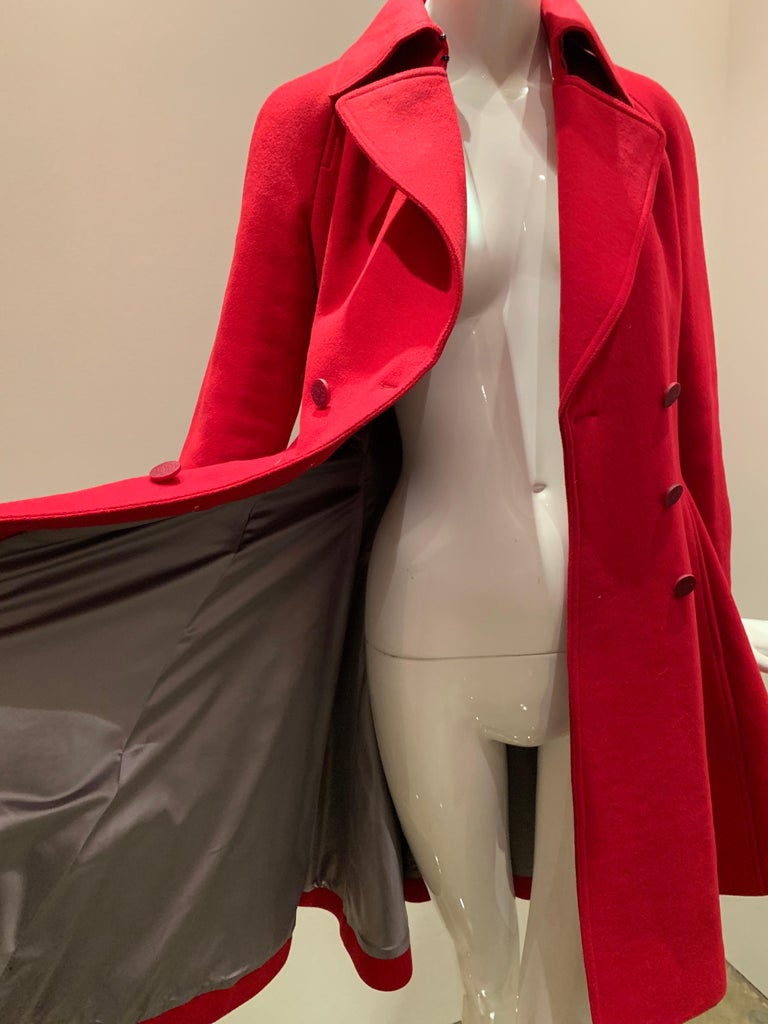 Alaia Cardinal Red  Boiled Wool Fit & Flare Princess Coat W/ Full Skirt & Collar For Sale 13