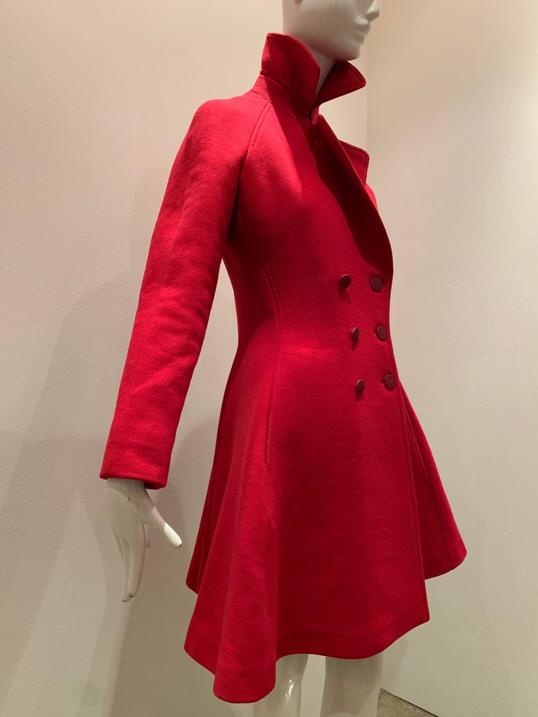 Alaia Cardinal Red  Boiled Wool Fit & Flare Princess Coat W/ Full Skirt & Collar In Excellent Condition For Sale In San Francisco, CA