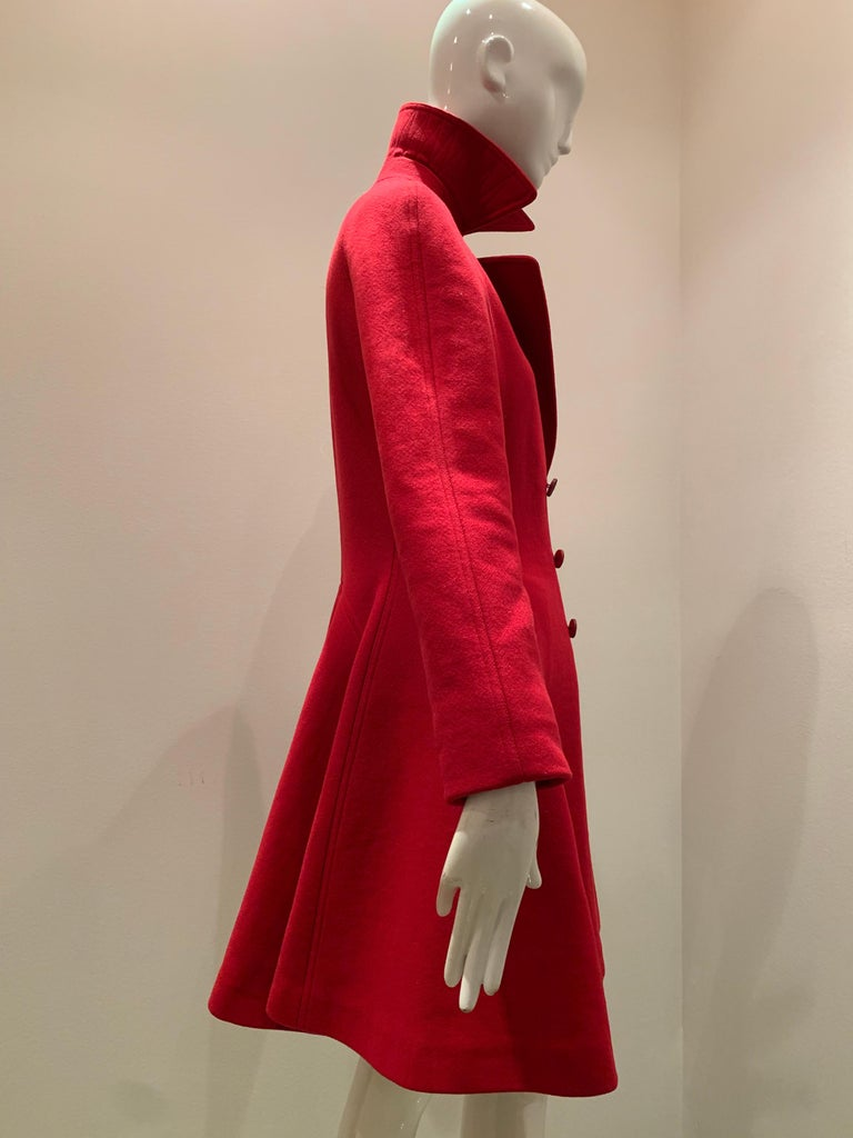 Women's Alaia Cardinal Red  Boiled Wool Fit & Flare Princess Coat W/ Full Skirt & Collar For Sale