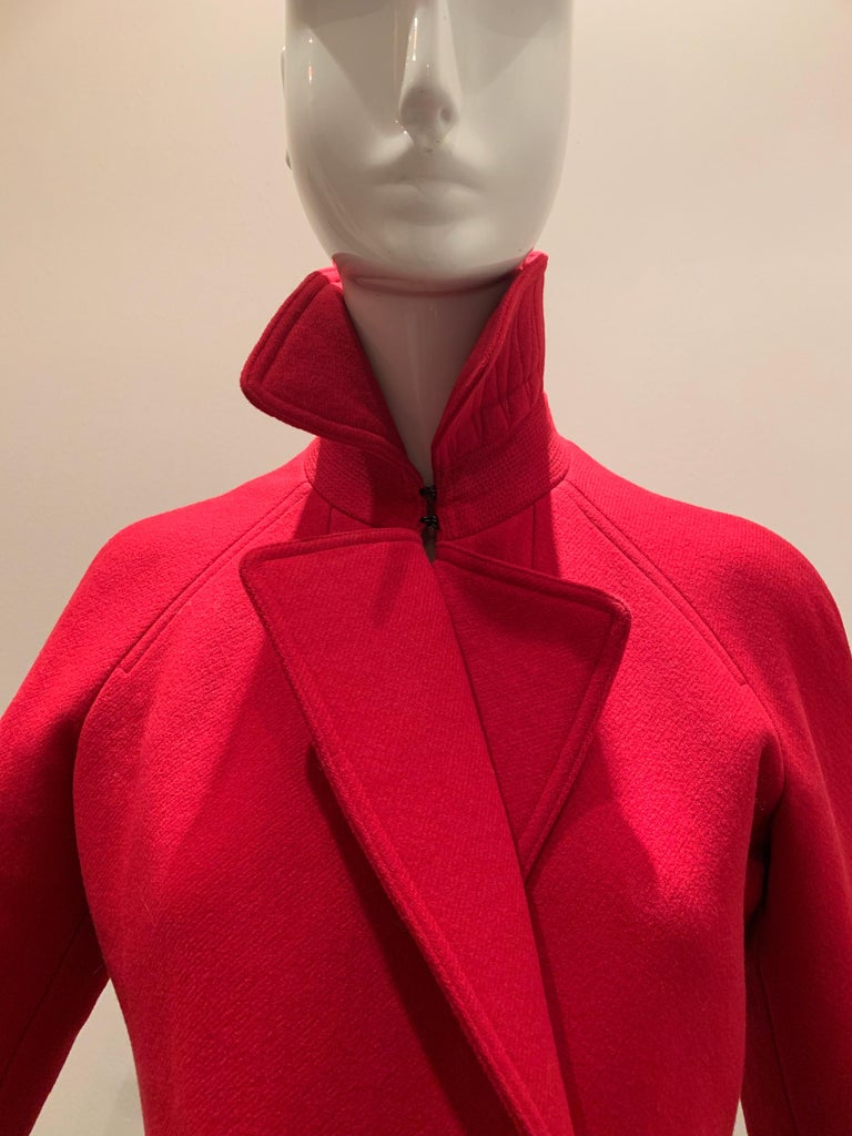 Alaia Cardinal Red  Boiled Wool Fit & Flare Princess Coat W/ Full Skirt & Collar For Sale 1