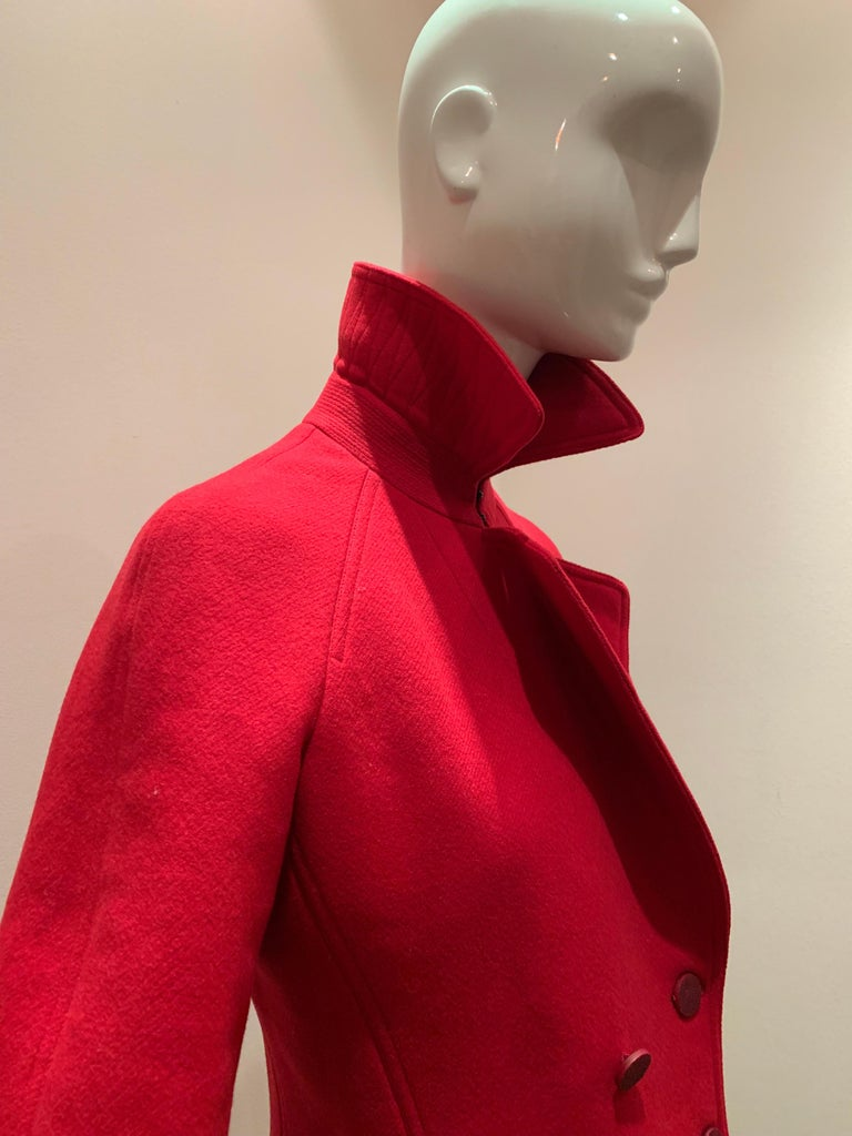 Alaia Cardinal Red  Boiled Wool Fit & Flare Princess Coat W/ Full Skirt & Collar For Sale 2