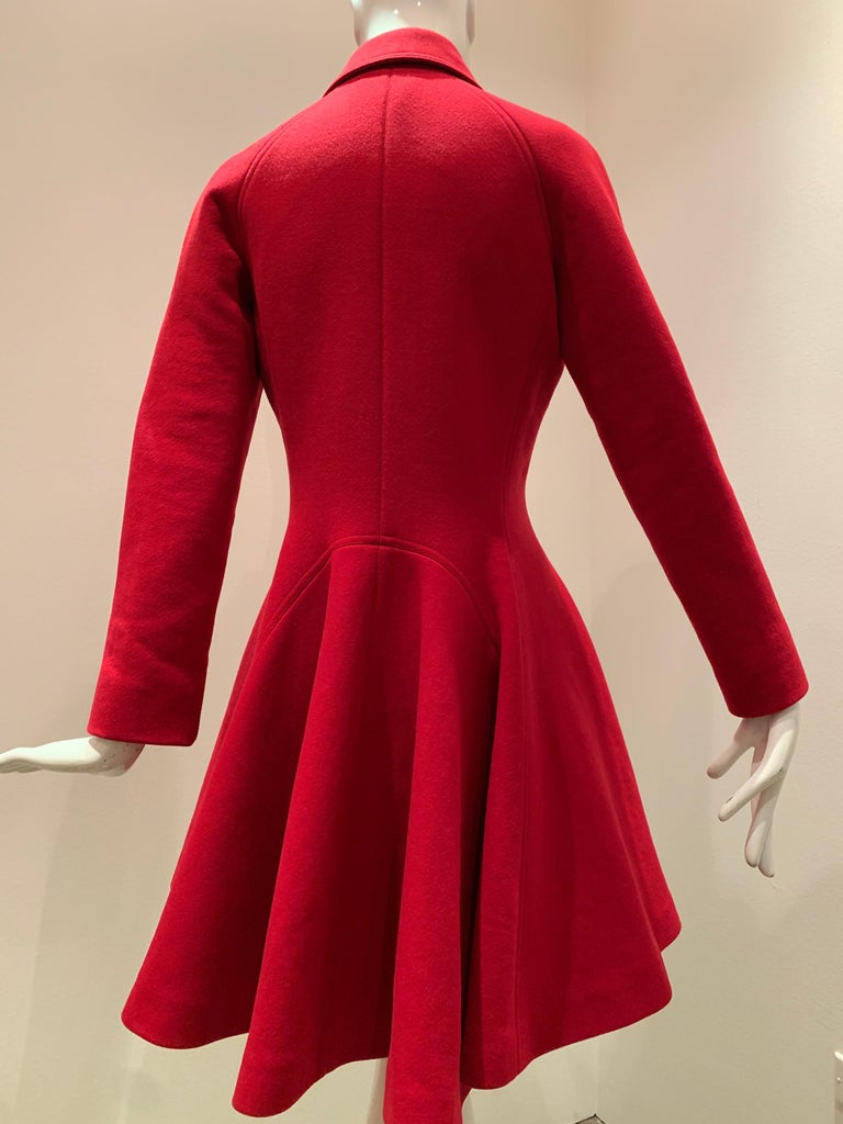 Alaia Cardinal Red  Boiled Wool Fit & Flare Princess Coat W/ Full Skirt & Collar For Sale 4