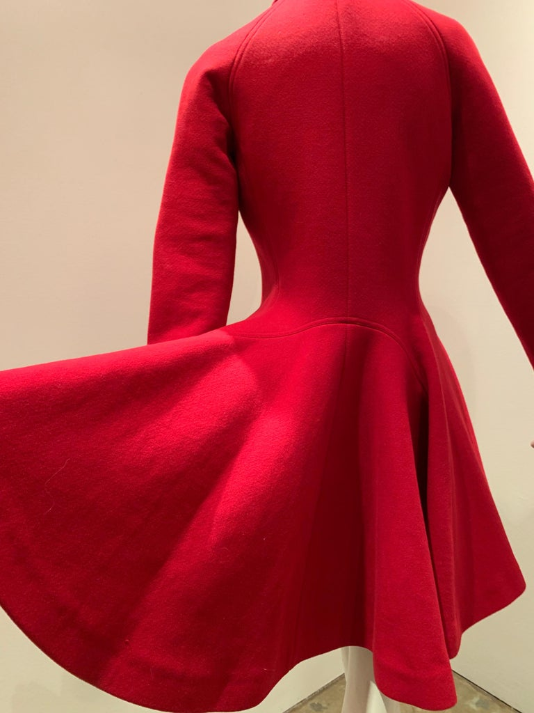 Alaia Cardinal Red  Boiled Wool Fit & Flare Princess Coat W/ Full Skirt & Collar For Sale 5