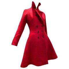 Alaia Cardinal Red  Boiled Wool Fit & Flare Princess Coat W/ Full Skirt & Collar