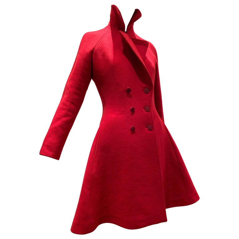 Alaia Cardinal Red  Boiled Wool Fit & Flare Princess Coat W/ Full Skirt & Collar For Sale