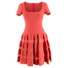 Alaia Coral Embroidered Knit Fit & Flare Mini Dress - Size US 6