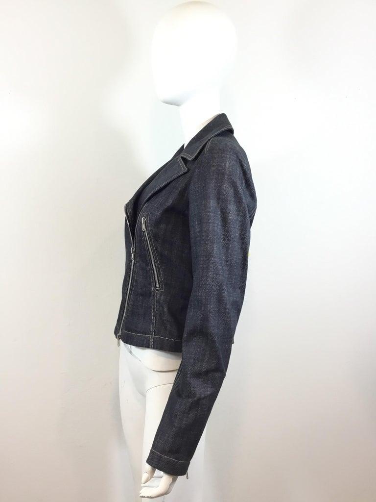 Black Alaia Denim Biker Zip Jacket For Sale