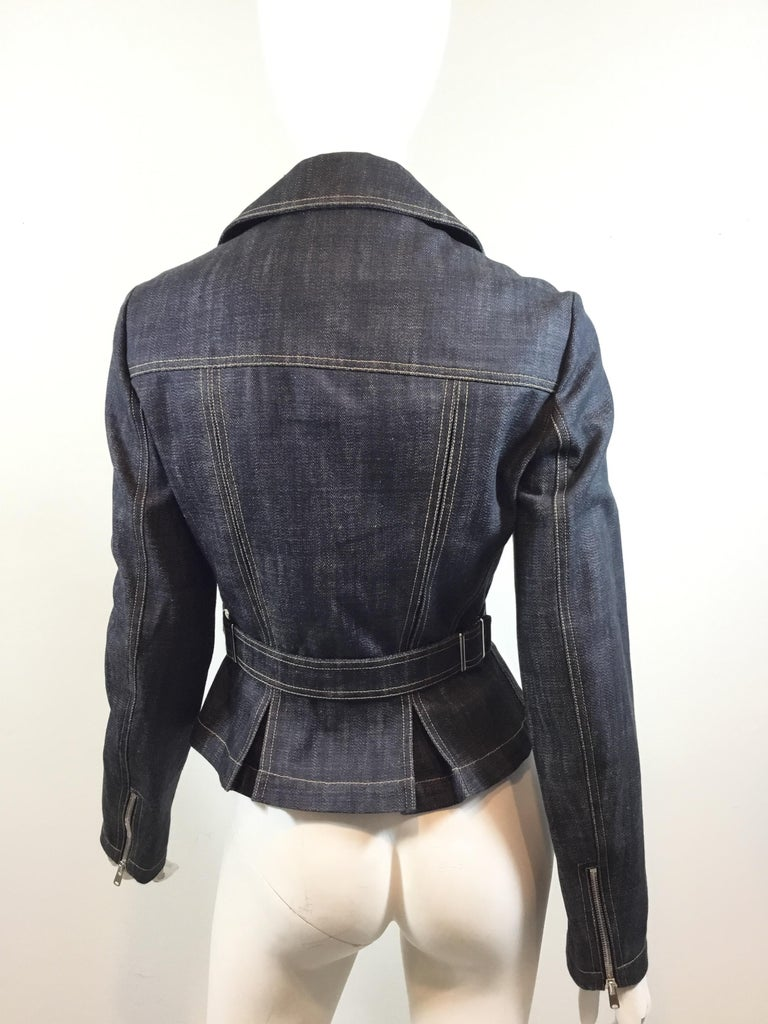 Alaia Denim Biker Zip Jacket In New Condition For Sale In Carmel by the Sea, CA