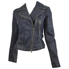 Alaia Denim Biker Zip Jacket