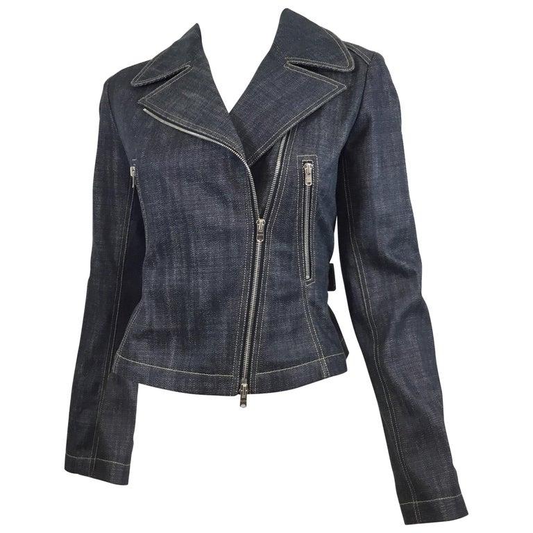 Alaia Denim Biker Zip Jacket For Sale