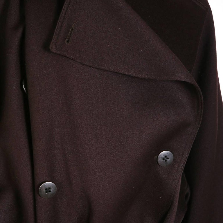 Black Alaia Double Breasted Oversized Wool Coat For Sale
